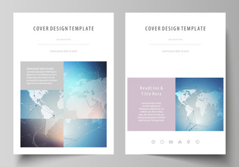 The vector illustration of the editable layout of A4 format covers design templates for brochure, magazine, flyer, booklet, report. Polygonal geometric linear texture. Global network, dig data concept