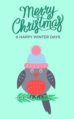 Merry Christmas Green Poster Vector Illustration