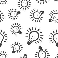 Light bulb seamless pattern background. Business flat vector illustration. Lighting electric lamp sign symbol pattern.