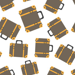 Suitcase seamless pattern background. Business flat vector illustration. Case for tourism, journey, trip, tour, voyage, summer vacation sign symbol pattern.