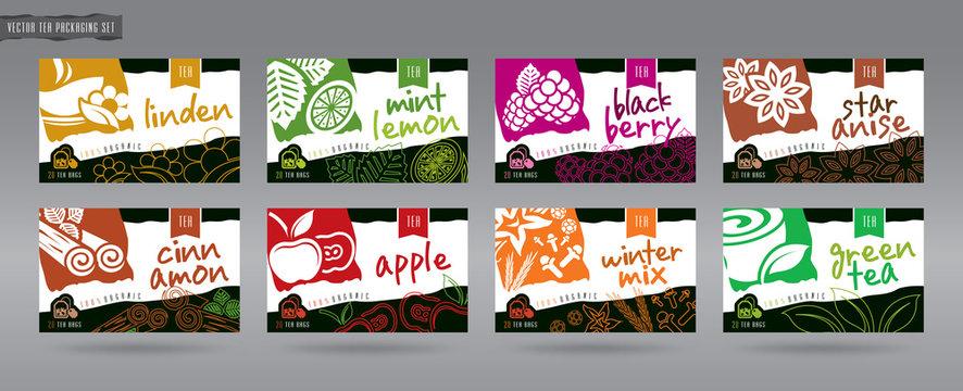 Vector Tea Packaging Set