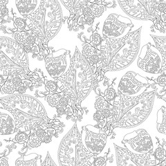 Seamless pattern with flowers. Black and white.