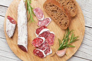Salami and bread
