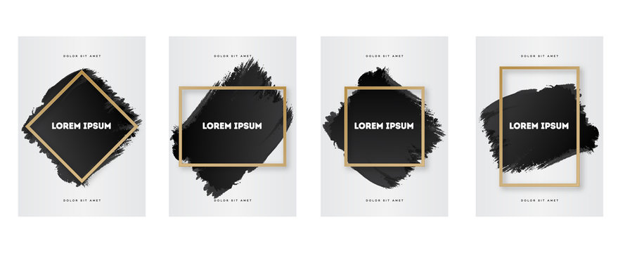 Cover design template set with watercolor and frame different shape gold style on white background for poster, decoration, invitation, flyer, greeting card, promotion, sale. Eps10 vector illustration