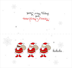 Vector Christmas card template. Christmas card with Santa Clauses in the style of children's drawing. European, African and Asian Santa.