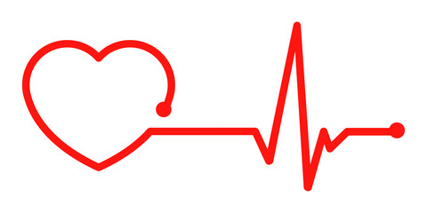 One line red pulse - vector