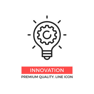 Vector innovation icon. Light bulb and cog inside. Premium quality graphic design element. Modern sign, linear pictogram, outline symbol, simple thin line icon