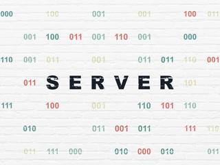 Web development concept: Painted black text Server on White Brick wall background with Binary Code