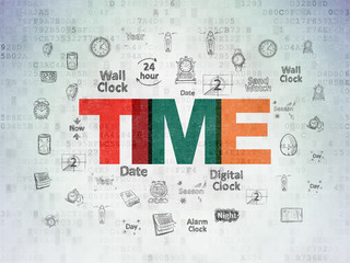 Time concept: Painted multicolor text Time on Digital Data Paper background with  Hand Drawing Time Icons