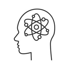 Human head with atom inside linear icon