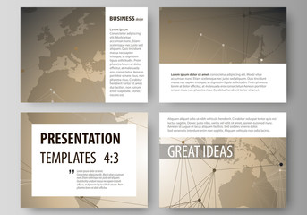 The minimalistic abstract vector illustration of the editable layout of the presentation slides design business templates. Chemistry pattern with molecule structure. Medical DNA research.