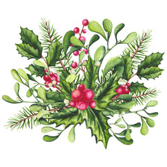 Christmas Watercolor Bouquet with Holly and Mistleotoe