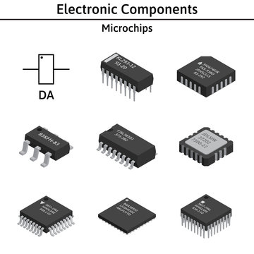 Vector set of izometric electronic components. Collection of microchips.