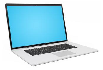 Modern silver laptop 3D rendering