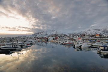 Harbor full of fishing boats-Lodingsaksla mounts in background. Lodingen-Hinnoya-Lofoten-Norway. 0657