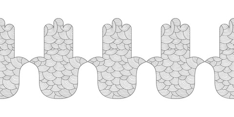 Hamsa hand. Black and white illustration for coloring page. Decorative amulet for good luck and prosperity.
