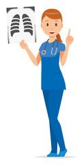 A woman nurse wearing a blue scrub has an X-ray picture