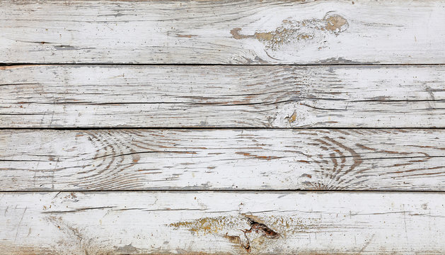 Close up background of white painted wooden planks