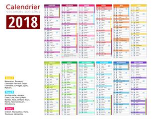 Calendrier 2018 - Vacances scolaire complet -  Carte - MODIFIABLE