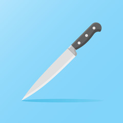 Kitchen knife isolated on blue background. Flat style icon. Vector illustration.