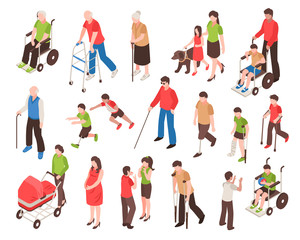 Disabled People Isometric Set