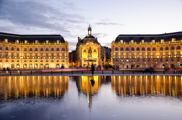 Place de la Bourse of Bordeaux city at nightfall