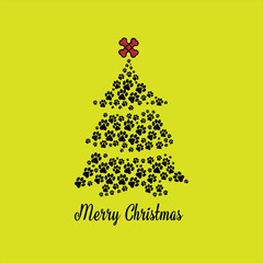 Colorful paw print christmas greeting card vector illustration