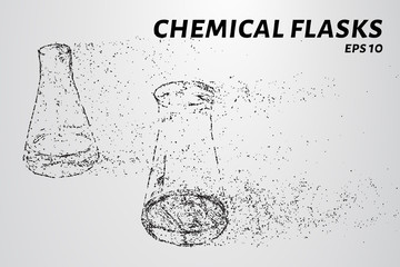 The chemistry of the particles. Chemical flasks composed of circles and dots. Vector illustration