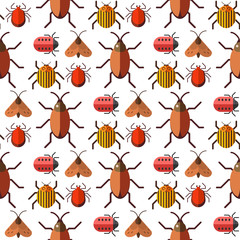 Insects bug vector seamless pattern bugs insects wallpaper cartoon design summer vector illustrtion