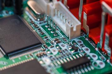 Computer chip close up. Hi tech concept.