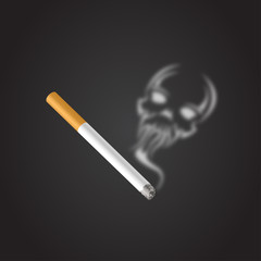 Smoke with a question mark. Smoking a cigarette. Social illustration. Vector. Part of set.