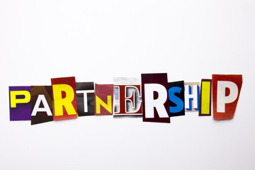 A word writing text showing concept of Partnership made of different magazine newspaper letter for Business case on the white background with copy space
