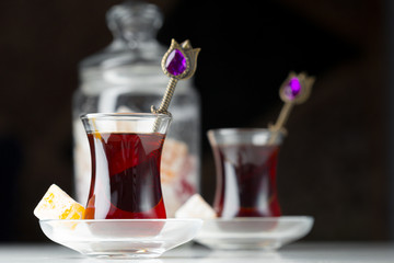 Traditional turkish tea close up
