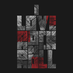 Rock n Roll lettering with grunge effect. T-shirt fashion Design. Template for banner, sticker, concert flyer, music label, sound emblem, poster.