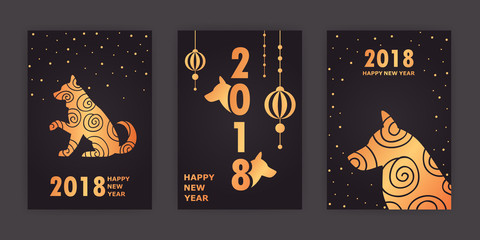 2018 new year. Chinese New Year. dog. set of vector cards