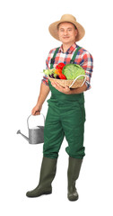 Agronomist with vegetables and watering pot on white background