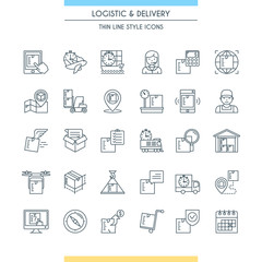 Logistic and delivery icon set