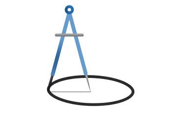 Compás azul haciendo una circunferencia.