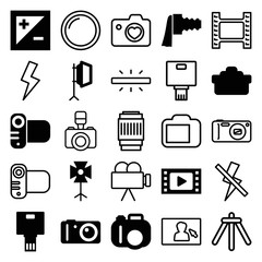 Set of 25 photography filled and outline icons
