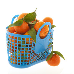 Tangerines isolated over white background