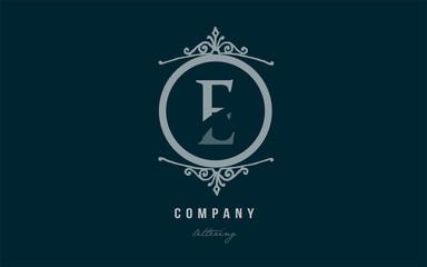 e blue decorative monogram alphabet letter logo icon design