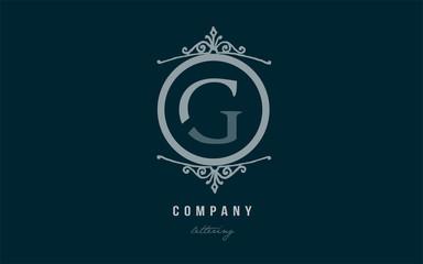 g blue decorative monogram alphabet letter logo icon design