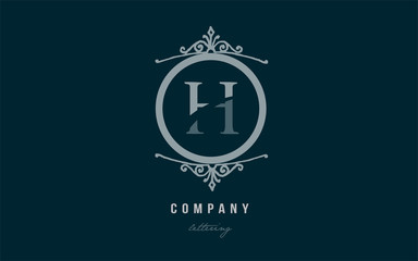 h blue decorative monogram alphabet letter logo icon design