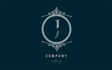 j blue decorative monogram alphabet letter logo icon design