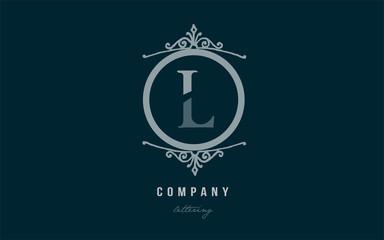 l blue decorative monogram alphabet letter logo icon design