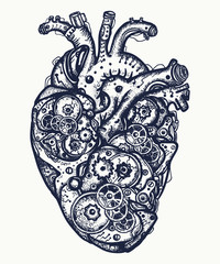 Mechanical heart tattoo. Symbol of emotions, love, feeling. Anatomic mechanical heart steam punk t-shirt design