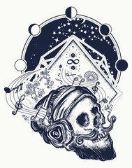 Human skull and universe tattoo and t-shirt design. Skull with beard, mustache, hipster hat and headphones tattoo. Skull of the bearded hipster in earphone listens to music