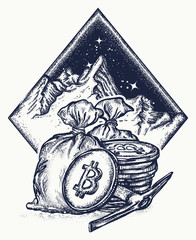 Bitcoin and mountains, new gold rush tattoo and t-shirt design. Cryptocurrency bitcoin mining symbol. Golden coins with bitcoin.
