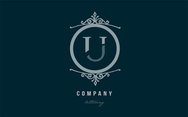 u blue decorative monogram alphabet letter logo icon design
