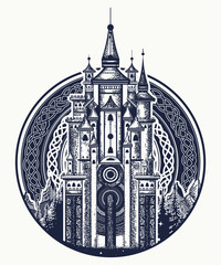 Medieval castle t-shirt design. Medieval castle tattoo art. Symbol of the fairy tale, dream, magic